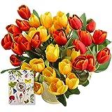SNAILGARDEN Tulipanes artificiales de 36 cabezas, 35 cm, flores artificiales con 2 para novia, boda, hogar, fiesta, festival,