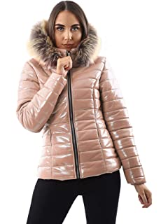 New Womens Ladies Wet LOOK Shiny Puffer Padded Fur Hooded Winter Jacket S-XL
