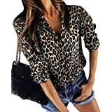 ShallGood Donna Camicia Leopardato Manica Lunga Pulsante Classici Casual Stampa Leopardata V-Collo Camicette Camicia Top Eleg