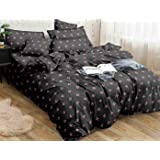 Kuber Industries Floral Design Glace Cotton Double Bedsheet with 2 Pillow Covers (Grey)-CTKTC033166