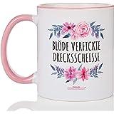 Fräulein Heiligenscheiss® Blöde verfickte Drecksscheisse   Blumenmotiv   Tasse mit Spruch - zweifarbig blumig…