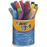 BIC Kids Ecriture Visacolor XL Feutres de Coloriage à Pointe Large Et Résistante - Couleurs Assorties, Pot de 18