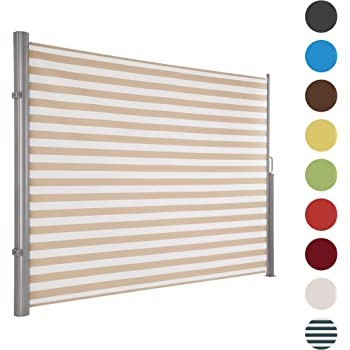 Ultranatura Maui Seitenmarkise, Seitenwandmarkise ausziehbar, Seitenrollo Balkon, Terrasse und Garten, Windschutz und Sichtschutz robust, 300 x 180 cm, creme/weiß