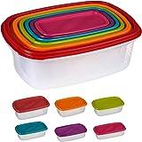 Silley 6 Boites Alimentaires Lot de 6 Boites en Plastique Emboitables + Couvercles - Boîtes de Conservation Rectangulaire - p