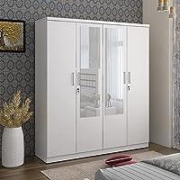 Home Centre Helios Reynan White Engineered Wood 4-Door Wardrobe with Mirror- 160 x 47 x 182 cm