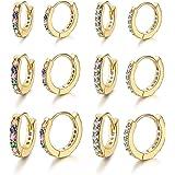 Milacolato 6Pairs Huggie Cerchio Orecchini per Donna Orecchini con Zirconi Cubici Rainbow CZ Multicolore Piccola Cartilagine