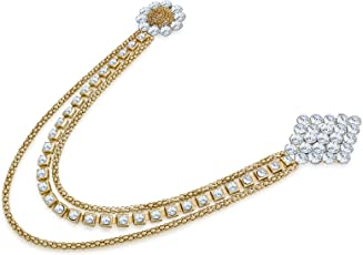 The Luxor Fashionable Floral Patteren Golden & White Gold Plated Saree Brooch For Women (Acc6132)