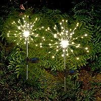 Solarlampe Garten Solarleuchten Außen, 2 X Solar Feuerwerk Licht Warmweiß LED Solarleuchten Wasserdicht Gartenleuchten…