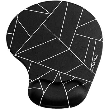Lizimandu Mousepad tappetino per mouse con Gel Mouse Pad rilievo di polso ergonomico poggiapolso Accessotech,Pad resto di polso del mouse con imbottitura in gel(Frammento Di Nero/Black Fragment)