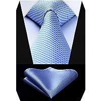 HISDERN Set da uomo con cravatta a motivo pied de poule e cravatta per matrimonio