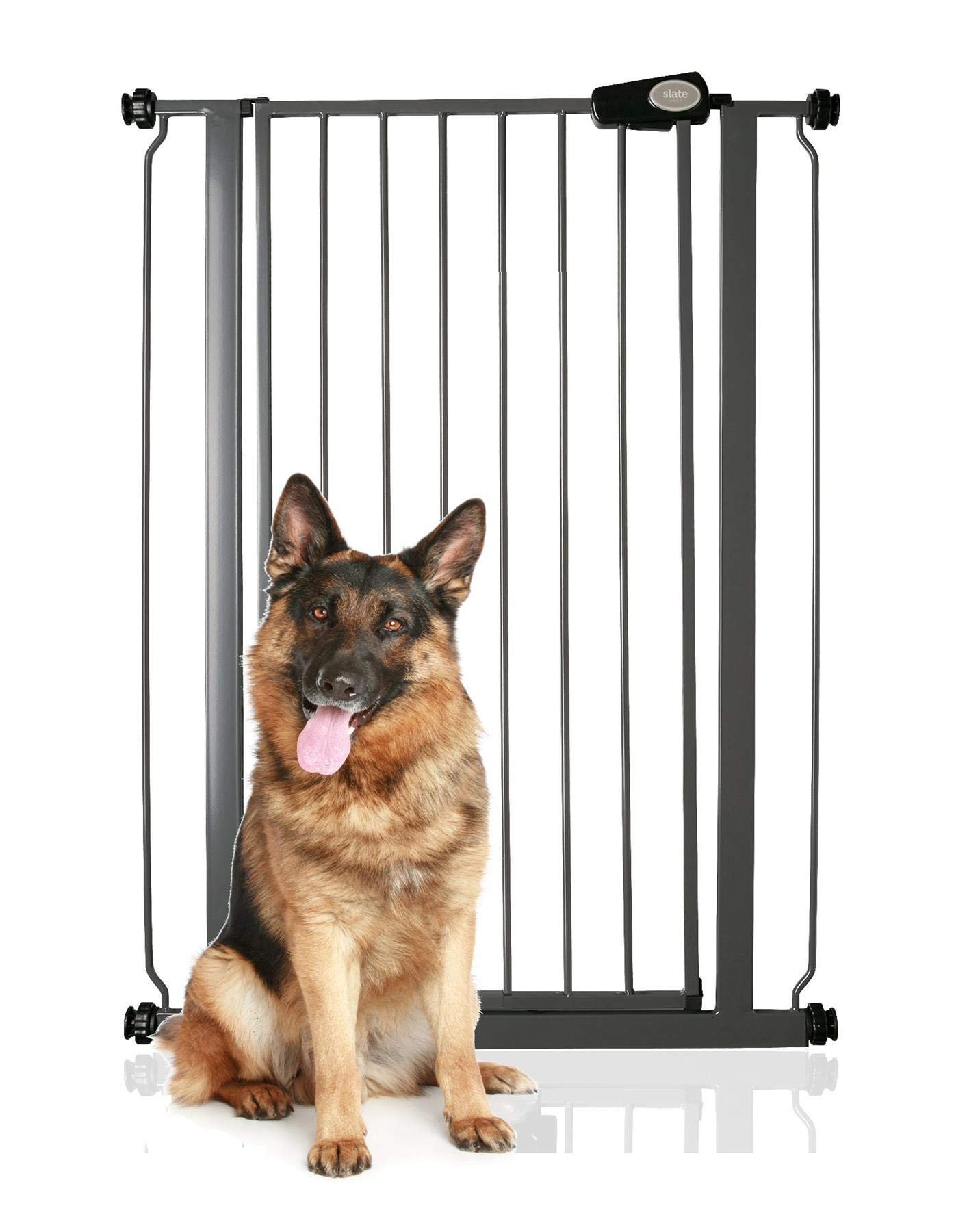 Bettacare Child and Pet Gate Slate Grey Standard 75cm - 82.6cm Bettacare Fits openings from 75cm to 83cm, height of gate 104cm Pressure fitted gate with slate grey finish One-handed operation 1