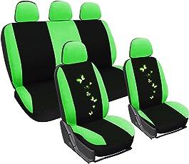 WOLTU AS7258 Universal Schonbezüge für Auto Sitzbezüge Sitzschoner Sitzbezug Auflage Schutz, Butterfly Stickerei, schwarz-grün