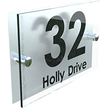 38b996805852 House Sign Modern Glass Effect Acrylic Door Number Name Road Plate Plaque