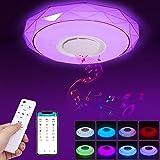 Plafonnier LED, 36W Luminaire Plafonnier avec Haut-parleur Bluetooth Musiqu, Plafonnier Chambre RGB avec télécommande et cont