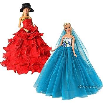 Miunana 2 Abiti Vestiti Da Sposa Lunghi Per 30CM Principessa Bambola Barbie  Dolls Regalo dc2316a9316
