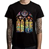 Qeeo Banksy Stained Glass T-Shirt - Church Window Graffiti - Sizes S To 3XL