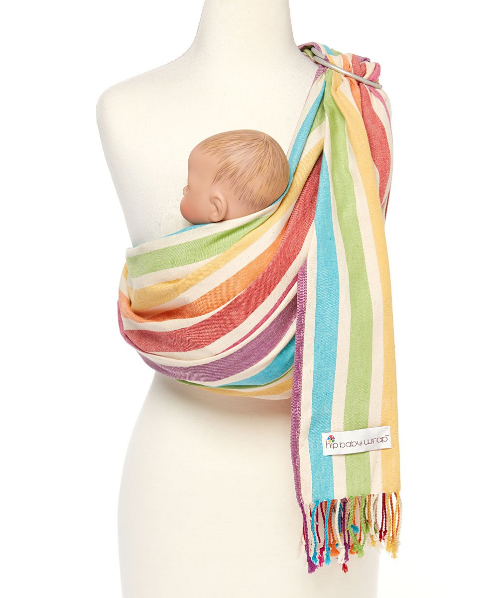 Hip Baby Wrap Ring Sling Baby Carrier for Infants and Toddlers (Mediterranean) Hip Baby Wrap Eco-Friendly - Made with beautiful 100% cotton, hand-loomed, breathable fabric and with top quality aluminum SlingRings. For babies 8 - 35 lbs. Fair trade and individually handwoven with eco-friendly non- toxic dyes in India so each wrap is beautiful and unique. Our lightweight fabric makes the Hip Baby Wrap cooler for baby and easy to manipulate. Superior ergonomic design helps distribute baby's weight evenly and comfortably across caregiver's body, relieving the shoulders and neck from unnecessary strain. Great for nursing on-the-go and as a nursing cover. Enhances parent-child bonding and child development. 1