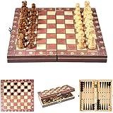 Schackset-lätt fällbar magnetisk schackbräda i trä lämplig för barn och vuxna