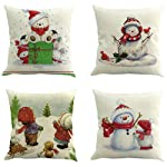 WensLTD Pack of 4, Christmas Decorative Square Throw Pillow Covers Home Decor Design Set Cushion Case for Sofa Bedroom...