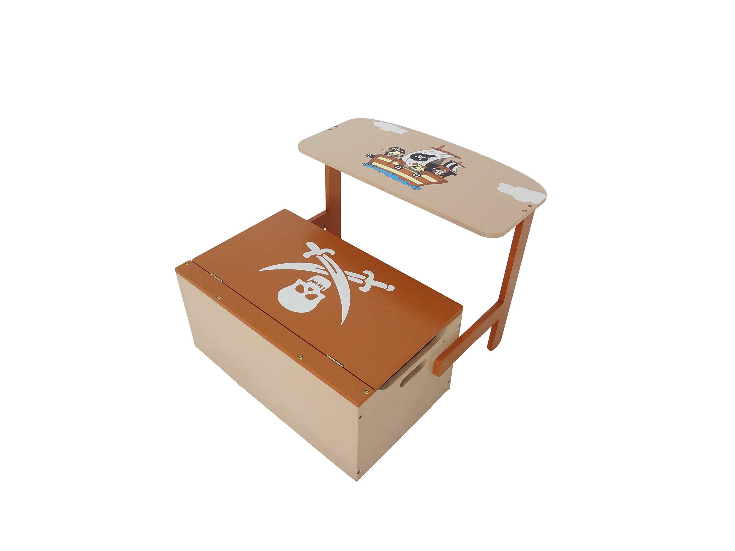 Cassapanca Legno Per Bambini.Kiddi Style Pirata Cassapanca Porta Giocattoli Convertibile Panca In Tavolo Con Sedia Per Bambini In Legno