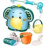 GeyiieTOYS Water Gun Backpack, Water Blaster for Kids 6Pcs Beach Sand Toys Set with 1900ml Capacity Backpack, Sand Shovel, Wa