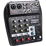 SYNCO MC4 Table de Mixage, Audio Bluetooth USB 4 Canaux Entrée Mono Stéréo Effets de Réverbération, Alimentation Fantôme 48 V