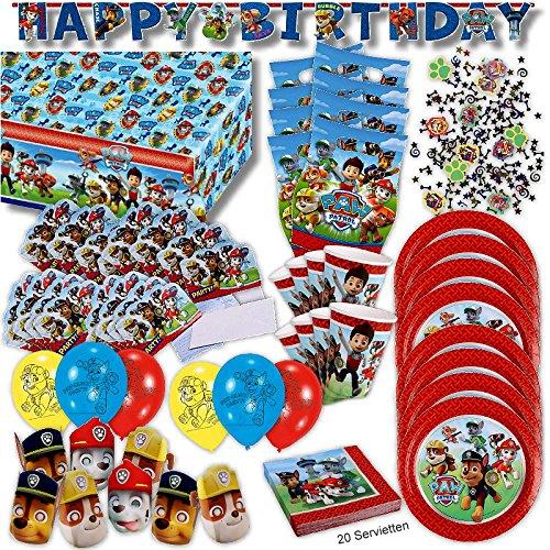 Paw Patrol Party Set XL 77-teilig für 8 Gäste Hundehelden Deko Geburtstags Kit
