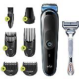 Braun MGK3242 7-in-1 multigroom, Baardtrimmer Voor Mannen, Gezichts- En Haartrimmer, Zwart/Blauw