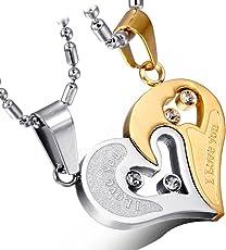Cupimatch 2-Teilig Herren Damen Edelstahl I Love You Herz Strass Puzzle Passender Anhänger Paar Halskette mit 50 cm & 55 cm Kette