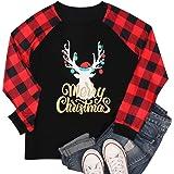 BANGELY Camisa de Navidad con Luces de Alce y Cuadros de Navidad para Mujer, Manga Larga, Informal, para día Festivo