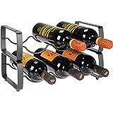mDesign - Wijnrek - voor wijnflessen en meer - stapelbaar/metaal/voor maximaal 3 flessen/handig - pc grafiet - per 2 stuks ve