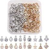 Craftdady 80 ciondoli in cristallo di zirconia cubica 10 stili geometrici piccoli strass strass con cornice in metallo per co