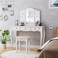 HOMECHO Schminktisch Frisiertisch mit Hocker und Abnehmbarer Spiegel Kosmetiktisch Weiß Frisierkommode mit Schubladen…