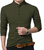 YTD Men's Casual Slim Fit Pure Color Long Sleeve Polo Fashion T-Shirts