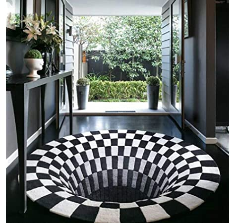 3D Bottomless Hole Optical Illusion Area Rug Carpet Sofa Door Mats Non-slip Home