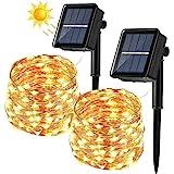 BrizLabs Cadena Luces Solares 2 Paquete 12m 120 LED Guirnalda Luces Solares Exterior Impermeable Iluminación Alambre de Cobre