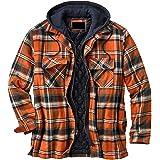 Buhui Retro Plaid Jacket Hombres, Franela Suelta Forrada Espesar Abrigo con capucha, Patchwork Cremallera Sudadera Térmica