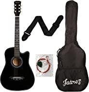 Juarez Acoustic Guitar, 38 Inch Cutaway, 038C With Bag, Strings, Pick And Strap, Black