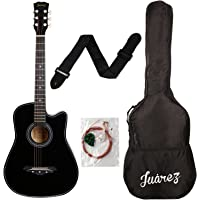 Juârez Acoustic Guitar, 38 Inch Cutaway, 038C with Bag, Strings, Pick and Strap, Black