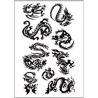 S.A.V.I 3D Temporary Tattoo Waterproof Sticker Black Dragon Popular New Designs Size - 21x15cm (10b), Multicolor, 4 g