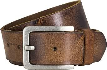 Pierre Cardin Mens leather belt/Mens belt fullgrain buffalo leather, 40mm wide, cognac