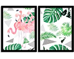 Painting Mantra Tropical Flamingo Matte Art Print, Painting for Home Decor, Paintings with Frame for Living Room (White, Gree