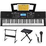 Donner 61 Kit Clavier électronique Piano Enfant Numérique 61 Touches avec Stand de Piano/Banc/Support de Partitions/Microphon