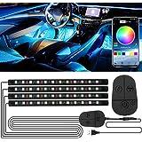 Luci Interne Auto, RGB Striscia LED con APP e Controller Aggiornati, Impermeabile 48 LEDs Luci per Auto, Multi Colore Music S