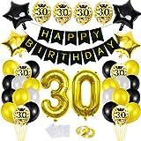 Bluelves 30 Globos Cumpleaños Decoracione Oro Negro, Happy Birthday cumpleaños,Decoración Globos de Látex Dorado Papel de Oro