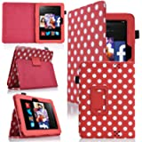 MoveAir - Polka Dot Red Amazon Kindle FIRE HD 7' 2013 latest Version Leather Case Cover and Flip Stand Cover Typing Case…