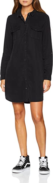 Vero Moda NOS Damen Vmsilla Ls Short Dress Blck Noos Ga Kleid