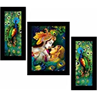 SAF Set of 3 Radha Krishna Religious Wall Painting with frame for home decoration , living room , Hotel , Office…