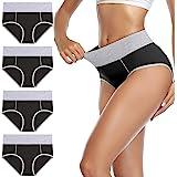 wirarpa Ladies High Waist Knickers Women's Cotton Briefs Underwear Full Back Coverage Panties Plus Size Multipack