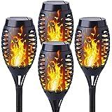 Solaires Torche de Jardin 4 Pièces, Shinmax Solar Flamme Lumière Imperméable IP55 Marche/Arrêt Automatique Lumière Solaire de